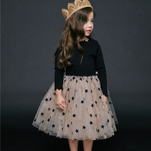 Girls Spring and Autumn Dress Cute Korean Style Sequin Stars Long-sleeved Cotton Mesh Princess Dress New Children Clothes New
