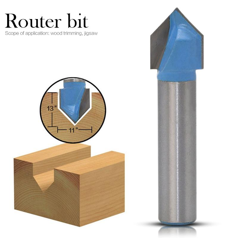 1pc 90 Degree V Shape Chamfer End Mills Router Bit For Woodworking 3D Milling Cutter