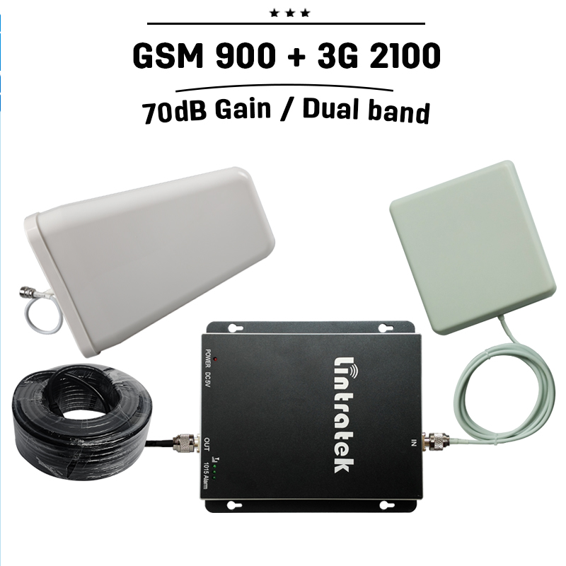 Russia Spain 70dB Gain GSM 900 3G WCDMA 2100 Dual Band Cell Phone Booster GSM 900 mhz 3G UMTS Mobile Cellular Repeater Amplifier