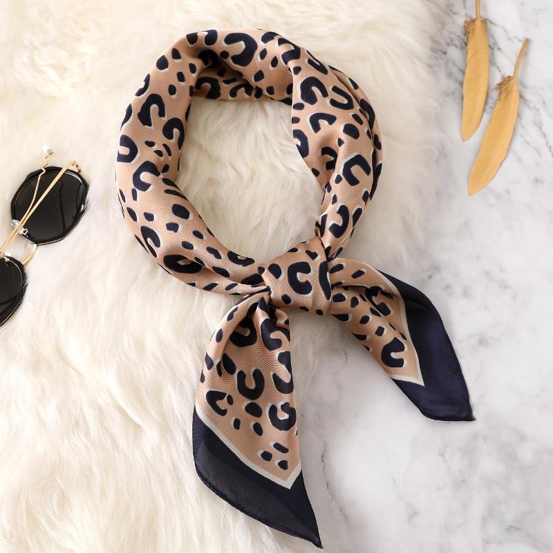 Fashion Women Scarf Luxury Brand Leopard Print Silk Shawl Scarfs Foulard Square Head Scarves Wraps 2017 NEW 70*70cm