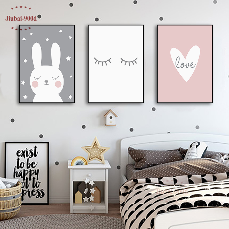 Cartoon Animal Poster Baby Room Wall Decoration Canvas Painting Nursery Wall Art Decoration Pictures Bunny Heart Eyelash NUR27