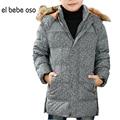 El bebe oso Nuevos Niños Chaquetas de Invierno Escudo Sólido Ropa Para Niños de Moda de Manga larga Con Capucha Gruesa Ropa de Abrigo Niños XL561