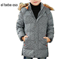 el bebe oso New Boys Down Jackets Winter Coat Solid Long Sleeve Hooded Kids Clothes Fashion Thick Warm Children Clothing XL561
