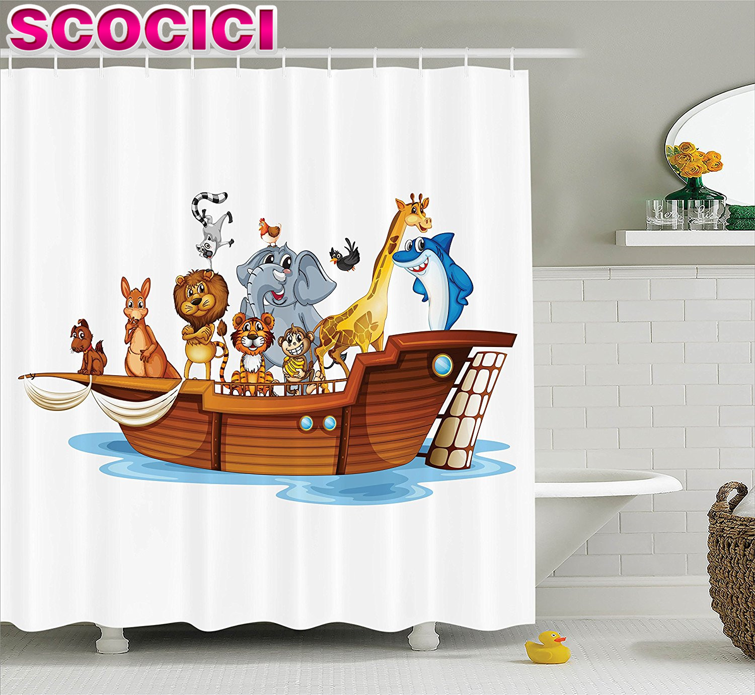 online get cheap noah ark animals aliexpress com alibaba group noahs ark decor shower curtain set illustration of many animals sailing in the boat mythical journey faith giraffe story art bat