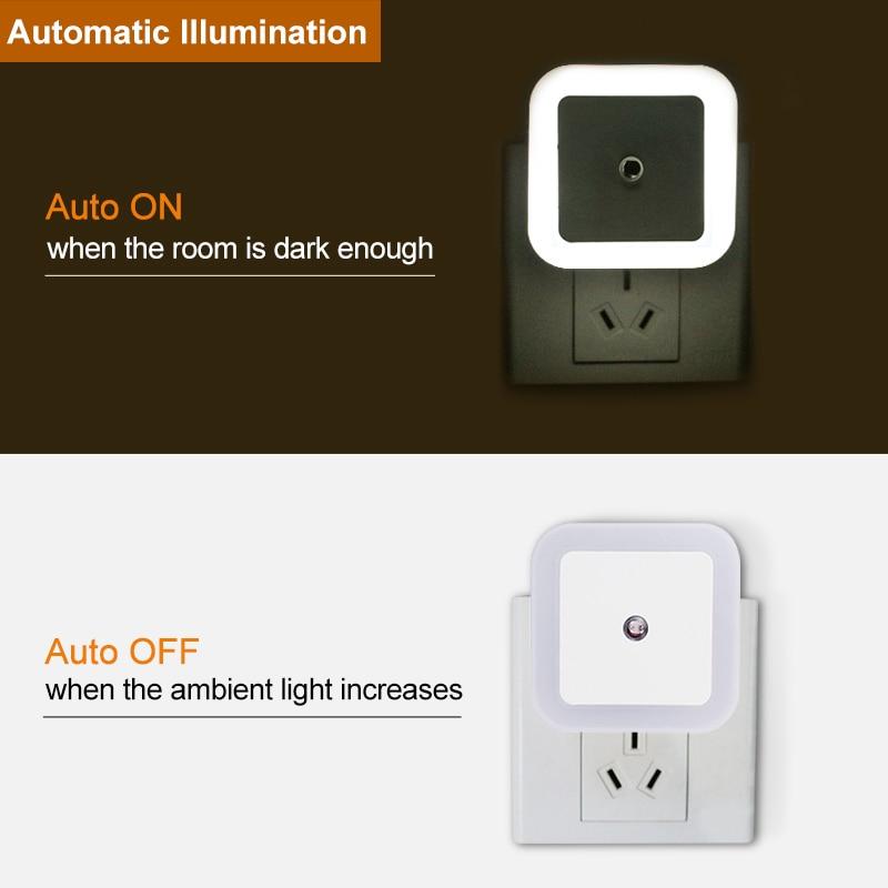LED Night Light Mini Light Sensor Control 110V 220V EU US Plug Nightlight Lamp For Children Kids Living Room Bedroom Lighting 3