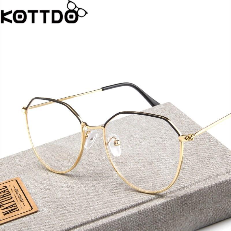 26eb212214 KOTTDO New metal reading glasses frame men fashion flat mirror eyeglasses  women retro eye glasses frame oculos de grau feminino