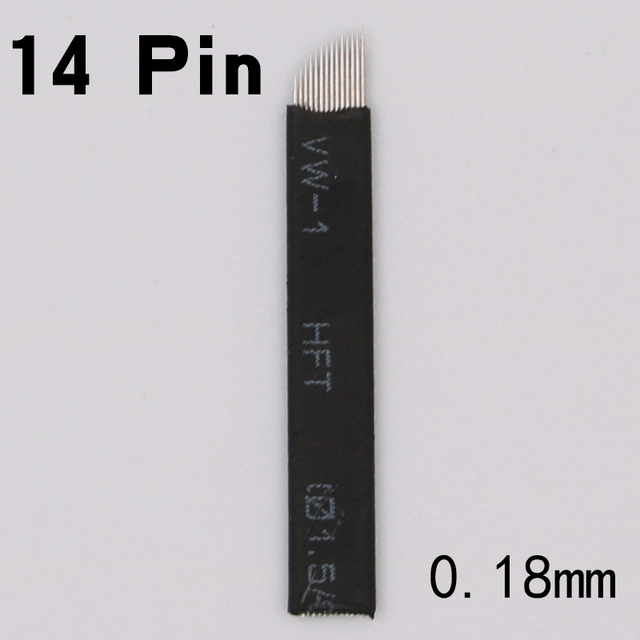 black 50 Pcs Microblading Needles 14 pins for Microblading Embroidery Pen Pernement Makeup Eyebrow Tattoo Pen Machine