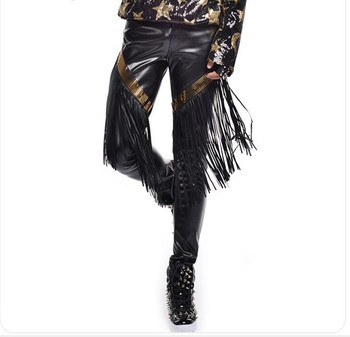 Personality Man Punk style Fashion Black Tassel Leather Pants Costumes Nightclub male singer dj Stage dance trousers performance