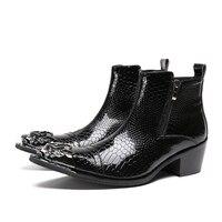 Зимние мужские ботинки Обувь на высоком каблуке черный натуральная кожа Прохладный в стиле милитари сапоги молния Декор металлический нак