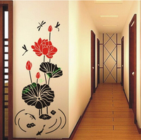Durable Nature Fresh Romantic 3D Lotus Leaf Water Lily Dragonfly Removable PVC Wall Stickers Home Decor