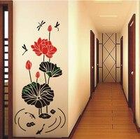 Natureza durável Fresco Romântico 3D Folha de Lótus Lírio de Água Libélula Removível PVC Adesivos de Parede Home Decor Para Sala de estar
