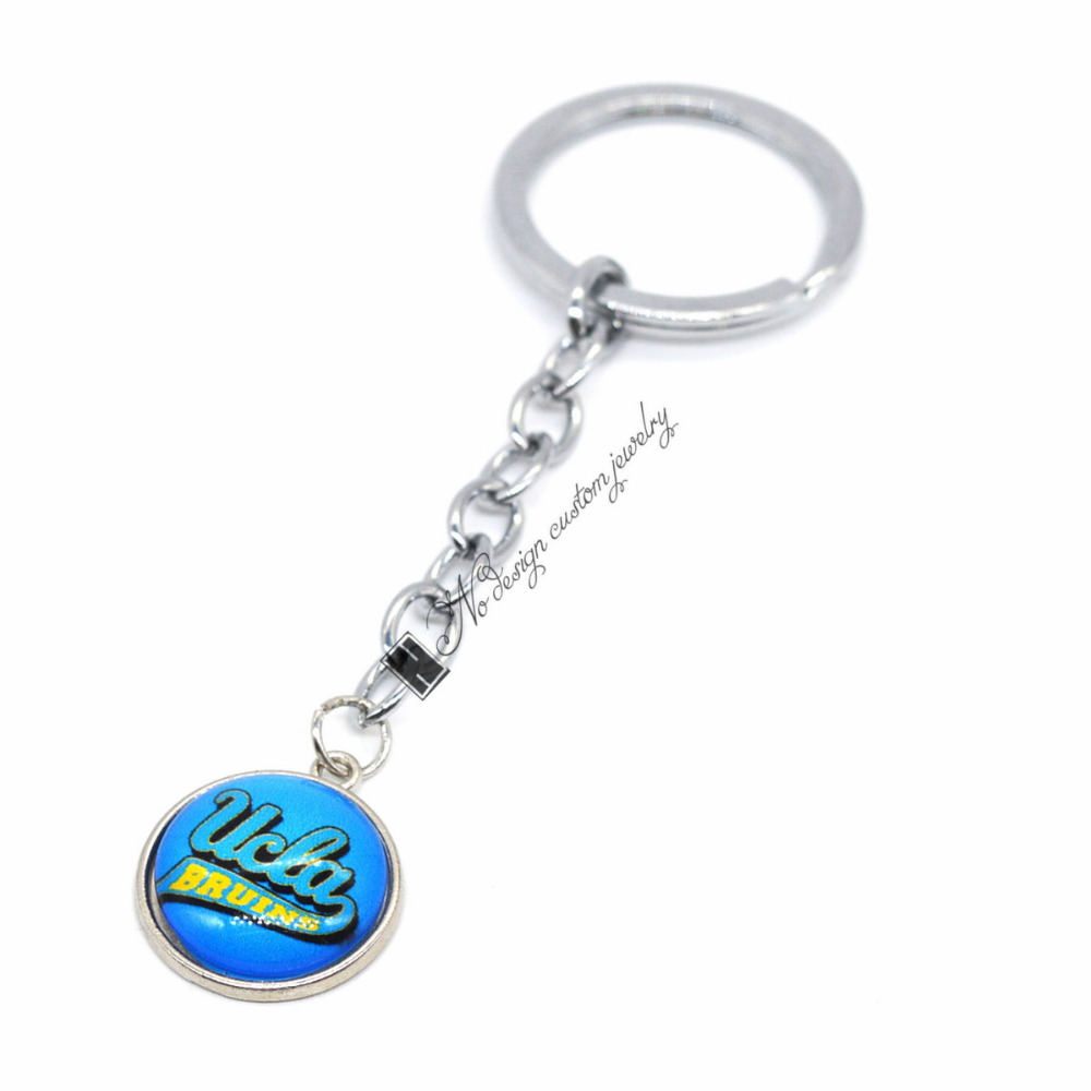 2018 Football Jewelry Keychain NCAA <font><b>UCLA</b></font> Bruins Charms /18mm Snap Button Charms Car Keyring for Women Men Gift image