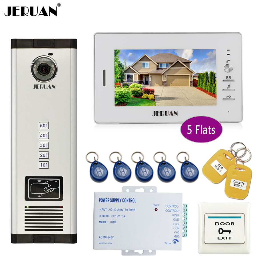 JERUAN 7`` Monitor 700TVL Camera Video Door Phone Intercom Access Control Home Gate Entry Security Kit for 5 Families Apartments jeruan 7 monitor 700tvl camera video door phone intercom access control home gate entry security kit for 8 families apartments