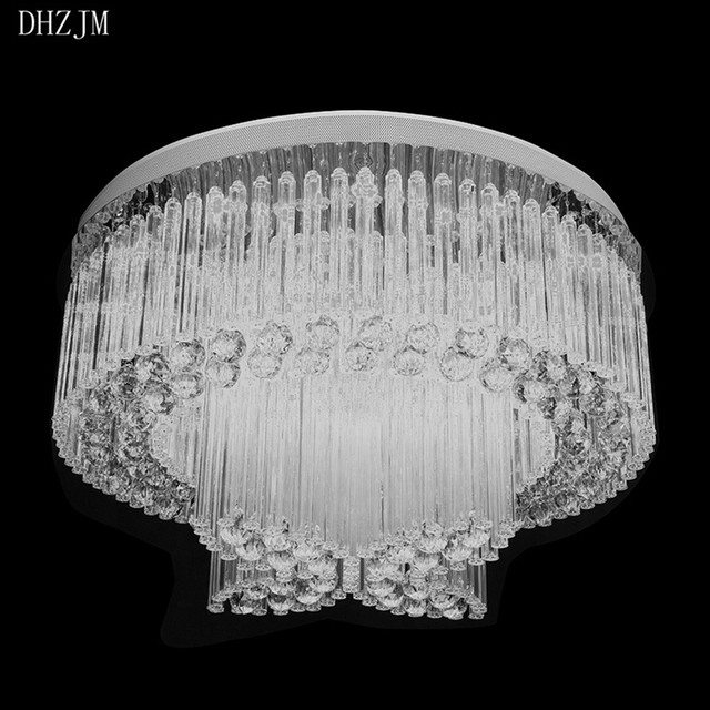 Modern Crystal Chandelier Light Fixture Round Lamp Flush Mounted Lighting Dining Fitting Led