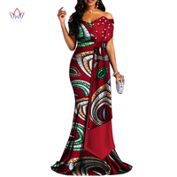 2019 african dresses for women bazin riche style femme african clothes lady print wax plus size party long wedding dress wy4378