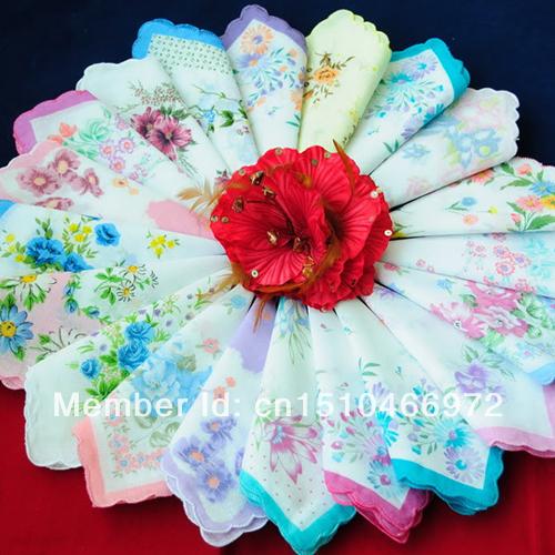 """Comercio al por mayor al por menor mujeres Pañuelo 25 UNIDS 11.8 """"colores multi estilo de Las Señoras de la vendimia lindo Pañuelo Pañuelos Florales zakdoeken"""