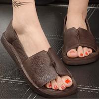 2017 Women Genuine Leather Summer Slides Sandals Slip On Leisure Shoes Solid Style Beach Handmade Sanda