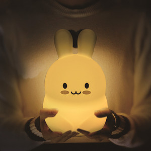 Image 2 - Rabbit LED Night Light Touch Sensor 9 Colors USB Battery Powered Silicone Bunny Bedroom Bedside Lamp for Children Kids Baby Gift