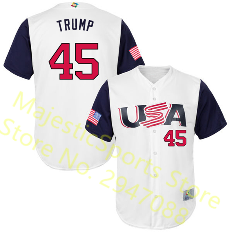 Men's Donald Trump Jersey Embroidery USA 2017 World Baseball Classic Gray White Baseball Jersey все цены