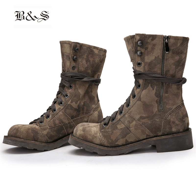 Black&Street High Top exclusive Handmade retro Genuine Leather camouflage military Punk Boot  Tactics soldier motorcycles B