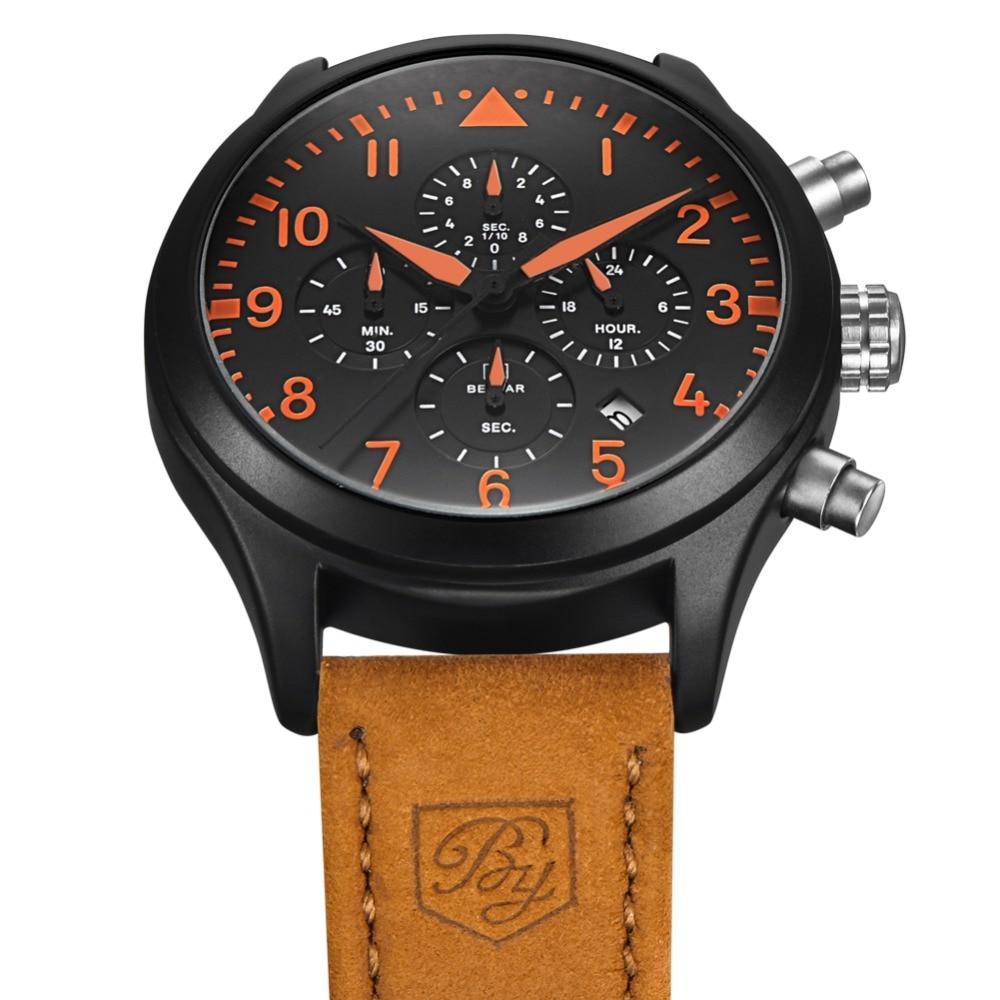 2018 Men Watch Benyar Top Brand Luxury Male Leather Waterproof Sport Quartz Chronograph Military Wrist Watches Men Clock relogio