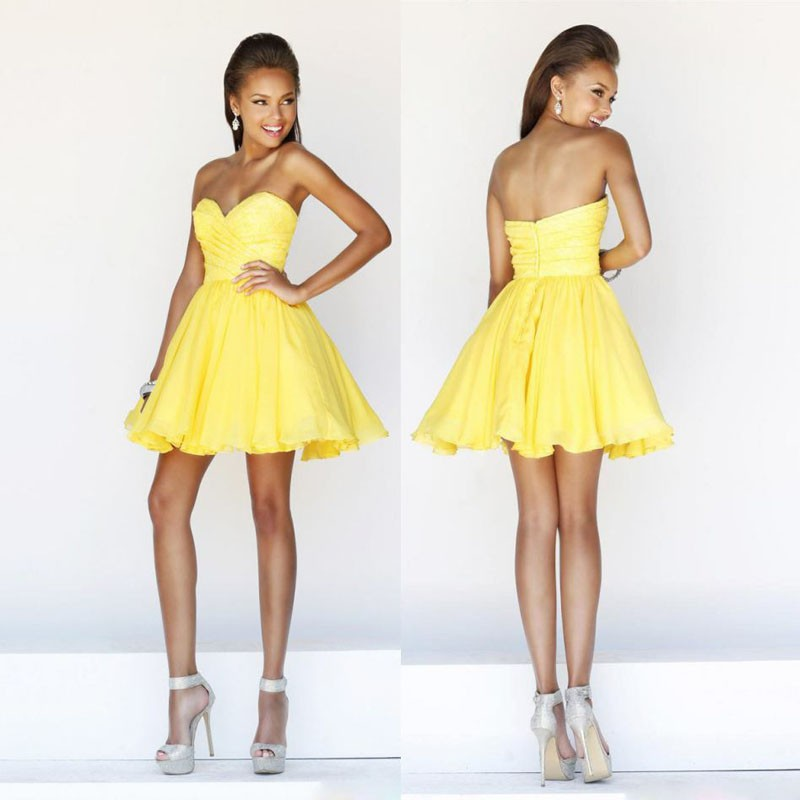 Online Shop 2015 New arrival wedding Party Dress day Yellow Satin ...