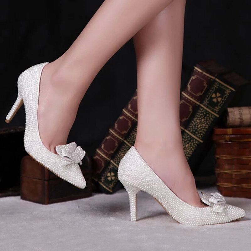 Pointed Toe Pearl Shoes Bridal Wedding Ivory Color Thin High Heel 3 Inches Handmade Formal Dress Prom Party Pumps In Women S From On