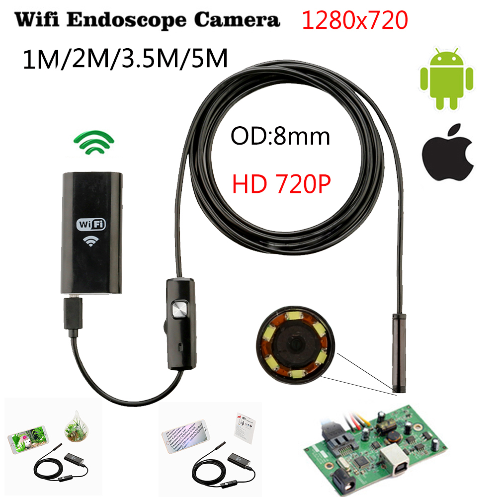 8 mm 1/3 / 5M Hard Wifi Endoscope Mini Android IOS Ipad Endoscope инспекционна камера Ip67 водоустойчив ендоскоп камера Android PC