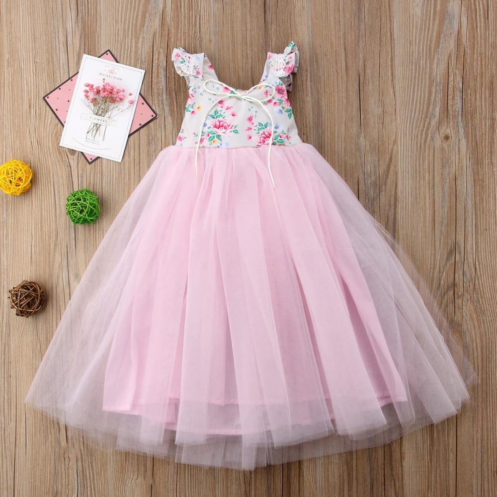 Desfile flor chica Rosa Encaje floral princesa vestido niños partido ...
