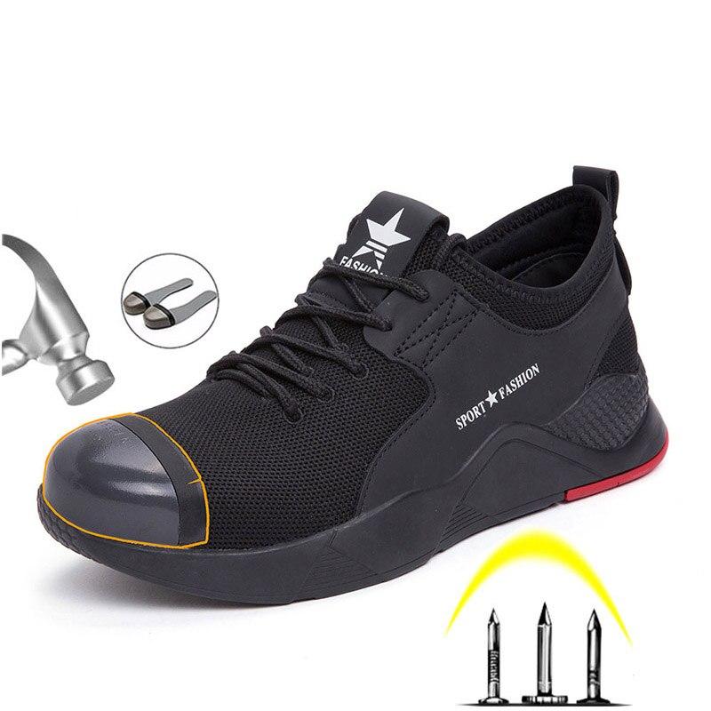Été respirant hommes chaussures de sécurité mode décontracté hommes bottes tête en acier intégré Anti fracassant Anti piercing hommes bottes de travail|Chaussures de sécurité| |  -