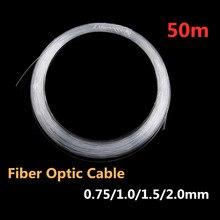 Пластиковый волоконно-оптический кабель свечение 50 м x 0,75 мм/1,0 мм/1,5 мм PMMA светодиодный светильник Прозрачный DIY для светодиодный потолочный светильник в виде звезды Прямая поставка