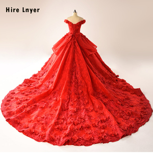 Image 3 - HIRE LNYER 2020 New Arrive Short Sleeve Beading Appliques Lace Flowers Princess Ball Gown Wedding Dresses Vestido de Noiva