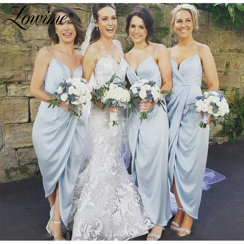 Light Blue Tea Ankle Length   Bridesmaid     Dress   Spaghetti Straps Formal Wedding Party Guest Maid of Honor Gown High Low Style   Dress