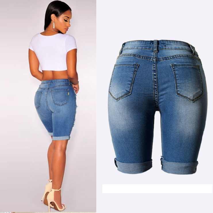 d79feff8a7a ... New Knee Length Denim Shorts Women Vintage Short Jeans Ripped  Distressed High Waist Shorts Femme Oversized ...