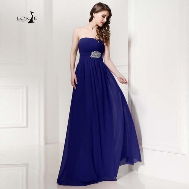 4a8ebf99fb9 Lorie Vestidos para invitados de boda 2017 barato azul marino a-line largo vestido  de