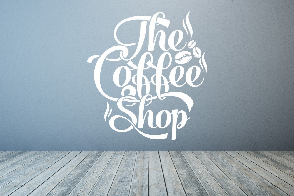 Coffee Shop Quote Vinyl Wall Decal Coffee Lettering Wall Decoration Coffee Shop Logo Mural Art Shop Window Glass Wall Sticker-in Wall Stickers from Home ... & Coffee Shop Quote Vinyl Wall Decal Coffee Lettering Wall Decoration ...