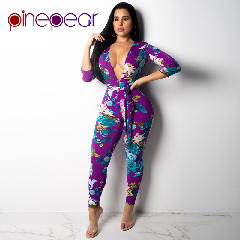 8ff9b0346c Online Shop PinePear Deep V-Neck Skinny Bandage Rompers Flower Print Womens  Jumpsuits 2019 Winter Long Sleeve Empire Women Casual Playsuits