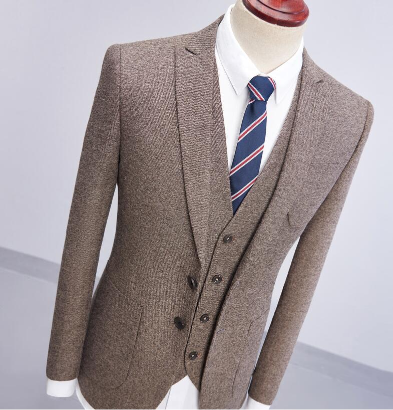 2018 Brand New GRAY brown tweed Formal Men Suit Set Wedding Groom Blazer Prom Style Tusxedo Terno Masculino Jacket+Pant+vest
