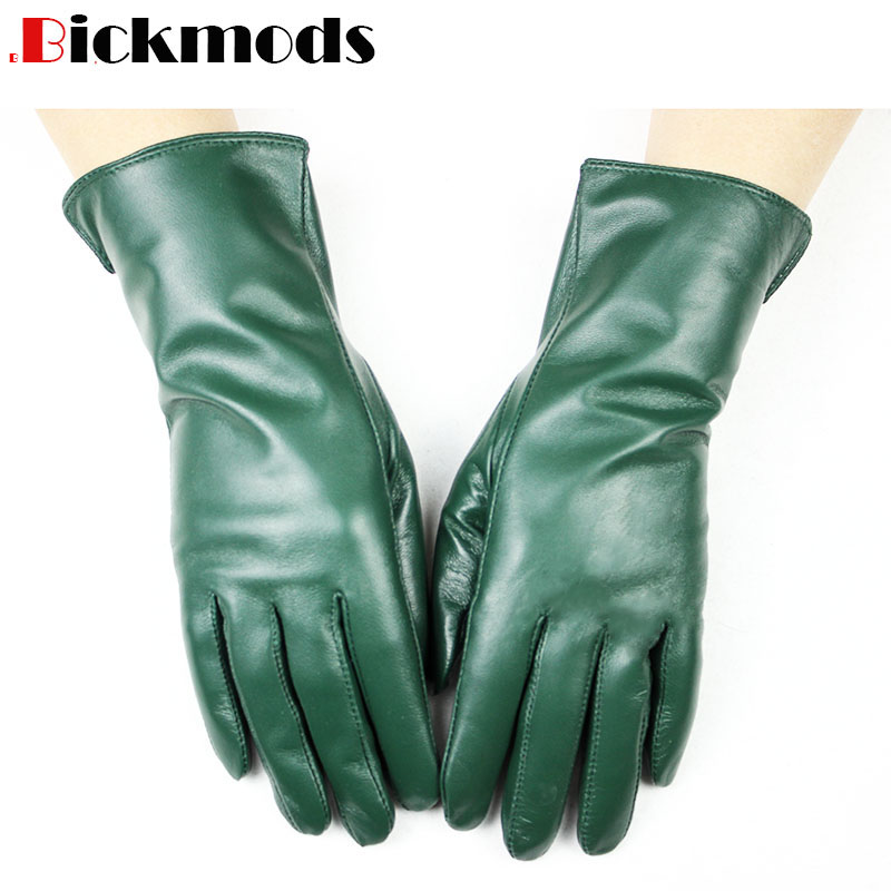 New Sheepskin Gloves Women's Straight-line Style Wool Lining Color Warm Autumn And Winter Ladies Leather Mittens Free Shipping