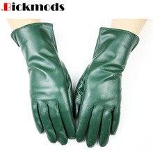 Nowe rękawice z owczej skóry damskie w prostym stylu wełniana podszewka kolor ciepłe, jesienne i zimowe damskie skórzane mitenki darmowa wysyłka