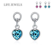 Authentic 100% 925 Sterling Silver Love Crystal Drop Earrings l Women Luxury Valentines Day Gift Jewelry