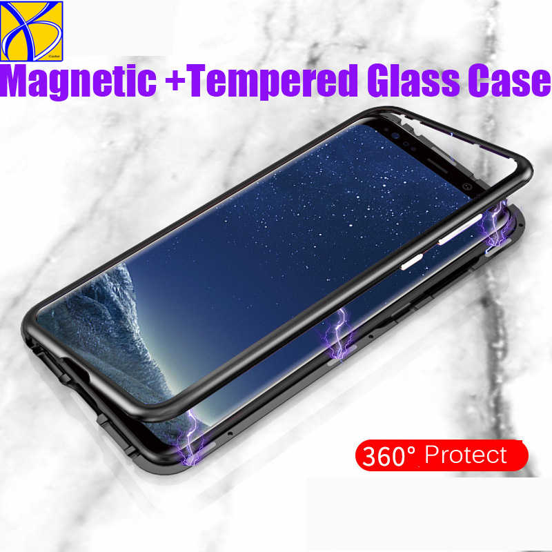 30pcs Metal bumper Magnet Case for Samsung Galaxy S8 S9 Plus Note 8 9 Magnetic Case for Huawei P20 lite pro mate 10 pro honor 10