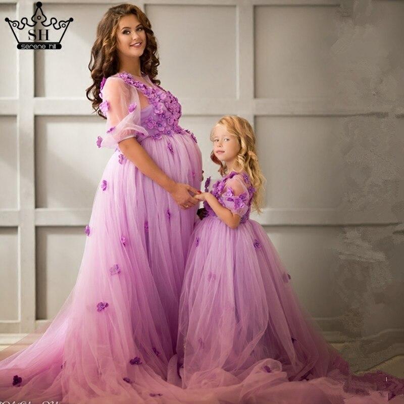 Moeder Dochter Trouwjurken Mum Moeder en Baby Bijpassende Kleding Paars Roze Regenboog Zus Bijpassende Kleding Familie Look Jurk