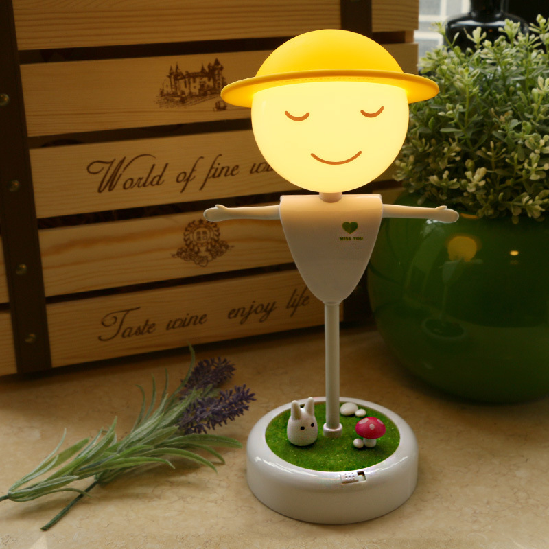 Novelty Scarecrow Led Small Sensor Kids Babyroom Atmosphere Lamp Birthday Christmas Gift Night Light Touch USB Rechargeable Lamp