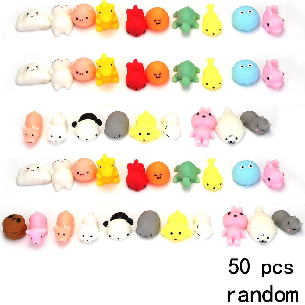 50Pcs Mini Soft Squishy Kawaii Toy Fidget Hand Squeeze Pinch Phone Cat Stress Reliever Decor Animal Squishy Toys