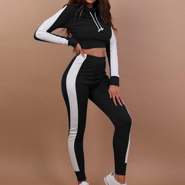 18e58f430276b 2018 New Women Tracksuit Striped Yoga Set Hooded Crop Top High Waist Pants  Sportswear 2 pcs Sport Suit Sweatshirt Pants Jumpsuit