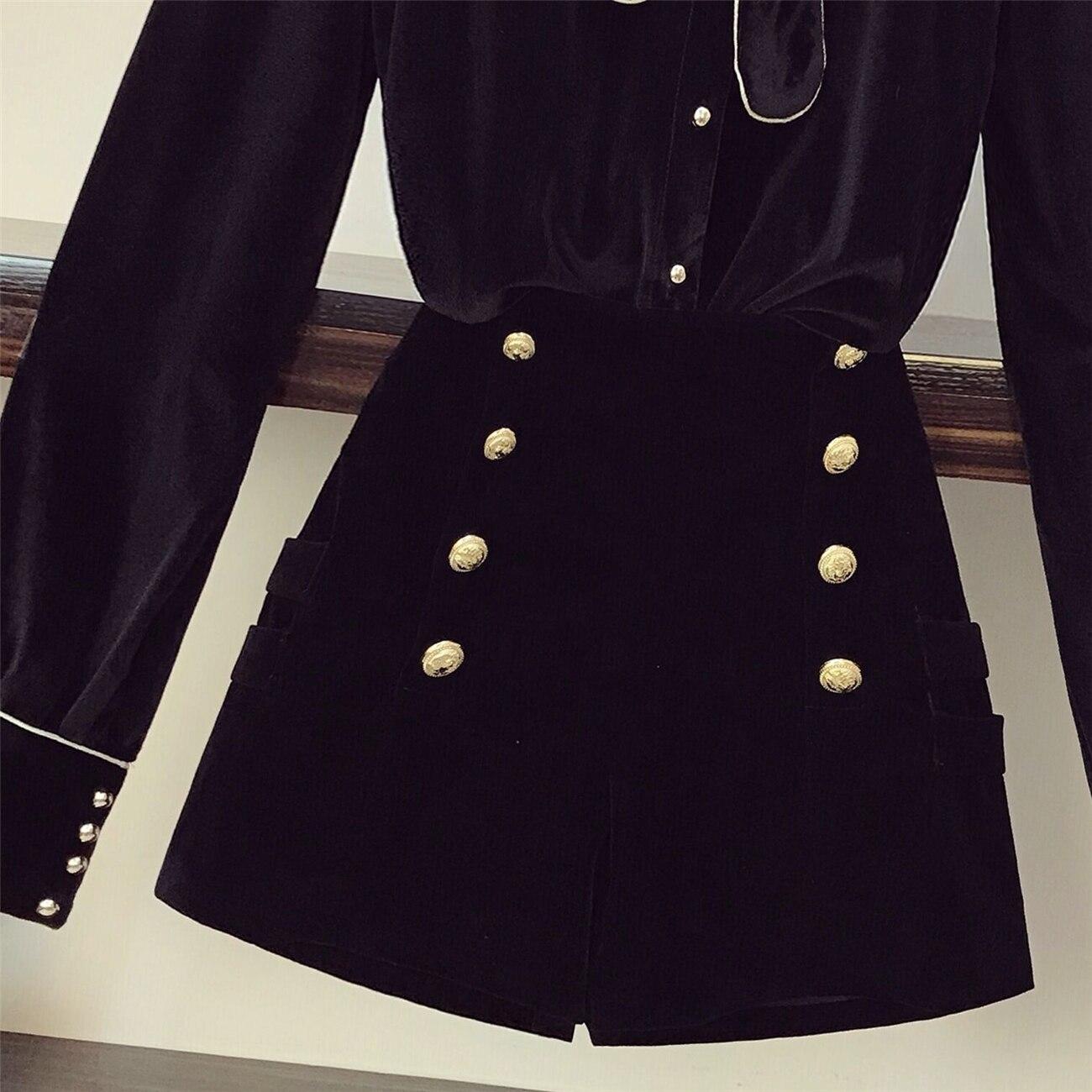 Costumes Black Définit Shorts Mode De Blouse Short Taille Breasted Manches Printemps Longues Et Étudiants À Nouveau Velours Femmes Double Haute Bow Hauts wqAT51