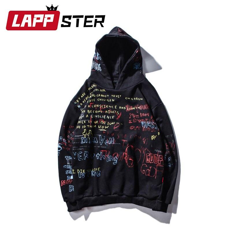 LAPPSTER Plein Lettre Harajuku vestes à capuche femmes Kpop 2019 style coréen Femmes Noir sweat à capuche Japonais Vêtements Surdimensionné Hoodies