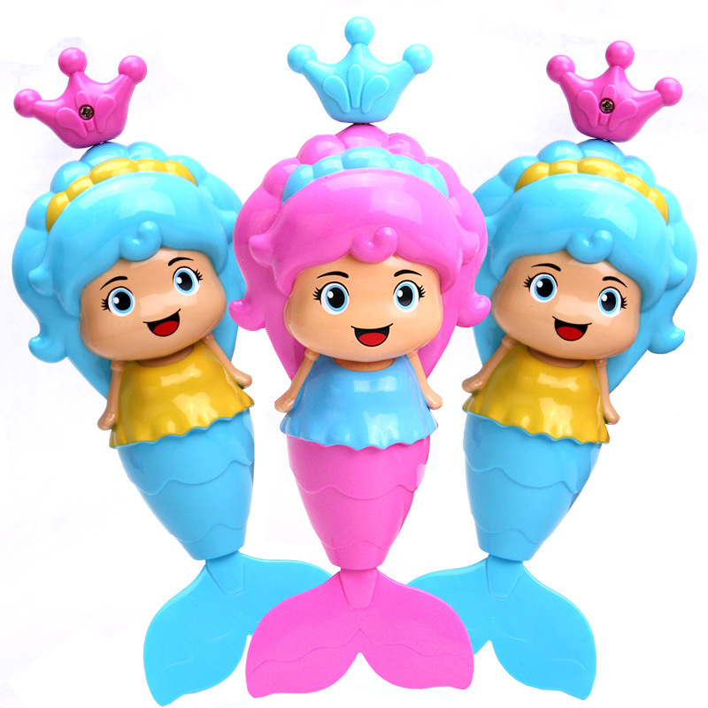Baby Beautiful Fish Clockwork Dabbling Bath Toy Classic Swimming Wound Up Toy Water Wind Up Cartoon Educational Learning Toy
