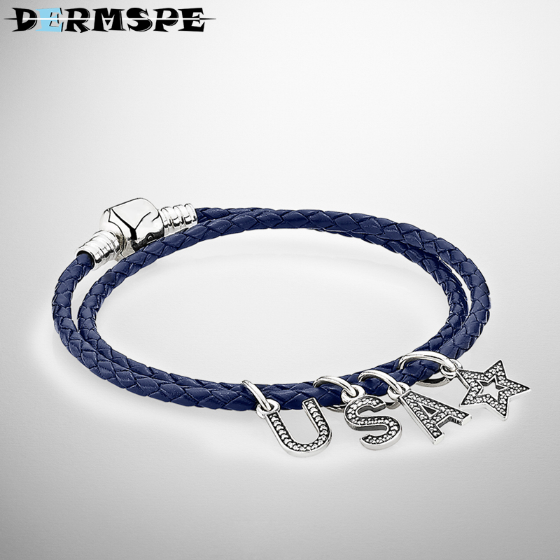 DERMSPE 100% 925 Sterling Silver American Alphabet Set Bracelet Fit DIY Original Jewelry Woman Bracelets Gifts forDERMSPE 100% 925 Sterling Silver American Alphabet Set Bracelet Fit DIY Original Jewelry Woman Bracelets Gifts for